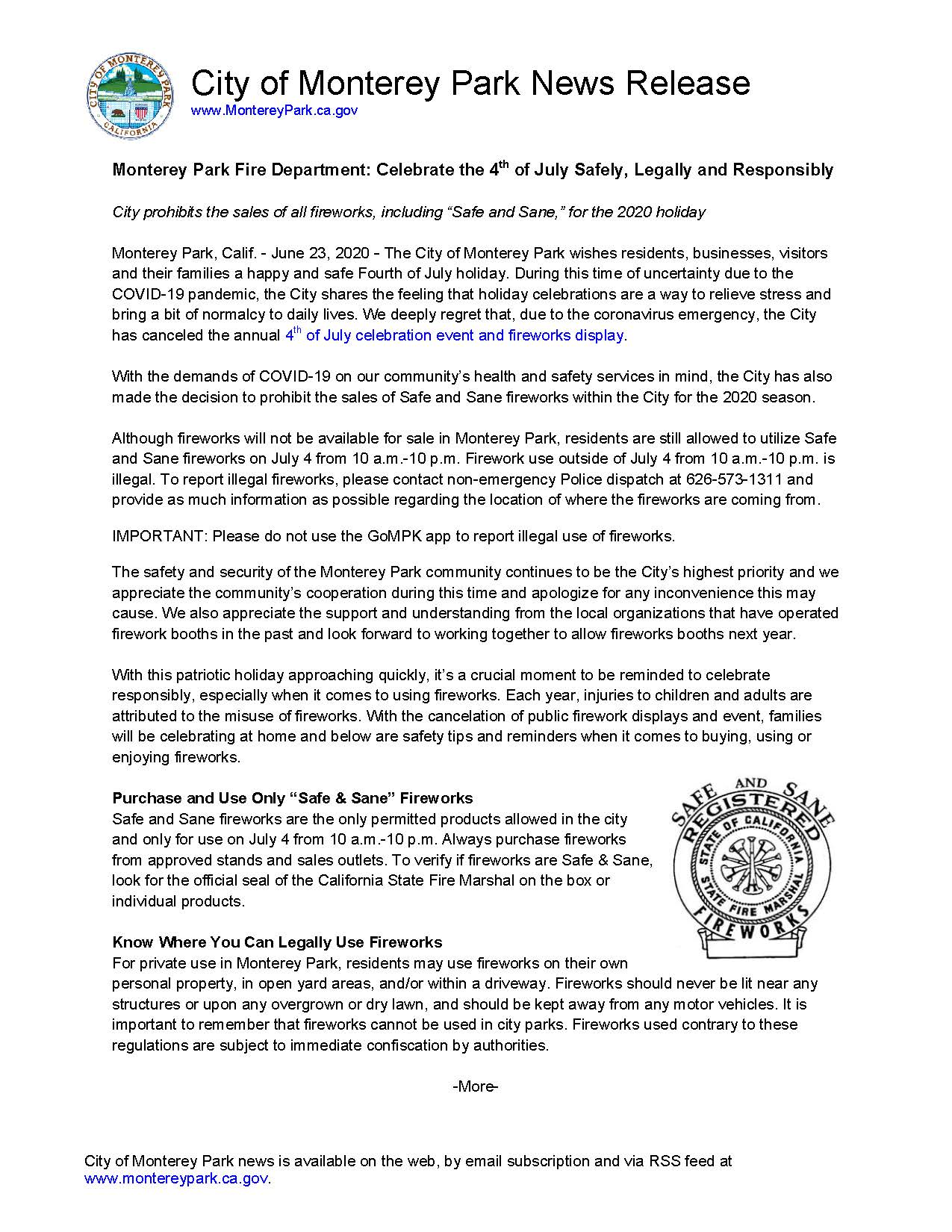 MPK News Release-Celebrate the 4th of July Safely