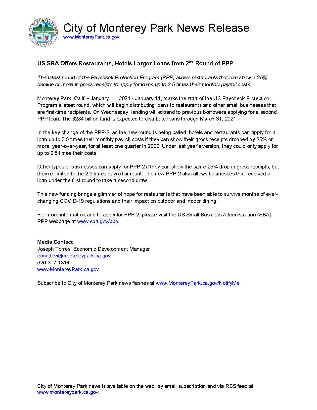 MPK News Release - US SBA Offers Restaurants, Hotels Larger Loans from 2nd Round of PPP 1-11-21