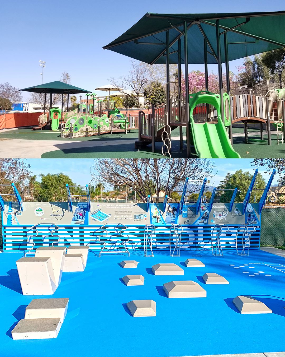 Barnes Park playground and fitness court collage